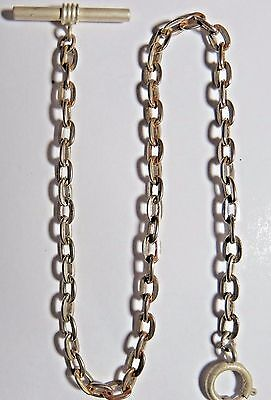 "Vintage Pocket Watch Clasp Silver Tone Fob Chain 11 3/4"" Long T-Bar"