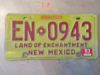 """1983 New Mexico Truck License Plate """" En 0943 """" Nm 83  Land Of Enchantment"""