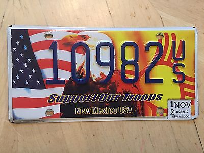 """New Mexico Support Our Troops License Plate """" 10982 Us """" Nm"""