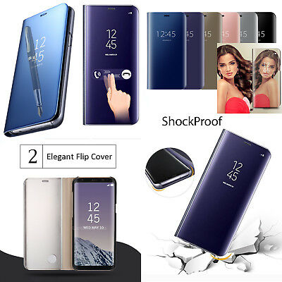 Smart Mirror Flip Leather Clear plating Hard Case For Samsung note A3 A5 A7 2016