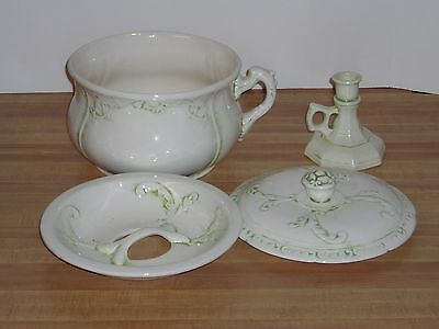 Antique Large 3 Piece Chamber Pot with matching Candle Holder Victorian