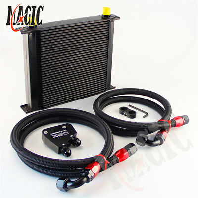 Universal 34 Row Engine Oil Cooler Kit + Sandwich Plate adapter For LS1 LS2 LS3