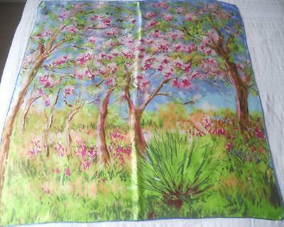 Gorgeous Vintage Ladies Pure Silk Scarf Square Spring Trees In Blossom