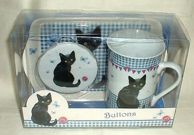 Otter House Chrissie Snelling Collection Buttons Cat Mug Lid Biscuit Tray Boxed
