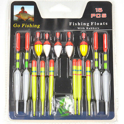 15pcs Assorted Sizes Fishing Lure Floats Bobbers Slip Drift Tube Indicator