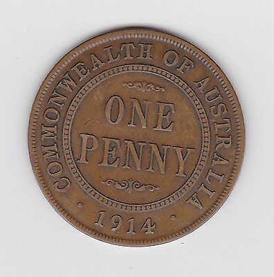 1914 Kgv Australian Penny  - Very Nice Low Mintage Coin