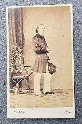 Photographie stehende Person 1860 Woodbury & Page Java  CDV Famous Photographer