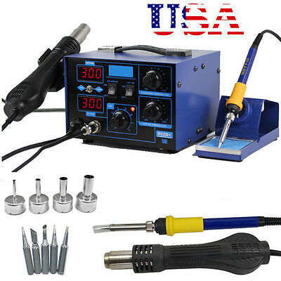 2 in 1 Soldering Iron Rework Stations SMD Hot Air Gun Desoldering Welder 862D+ V