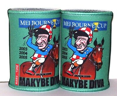 Melbourne Cup - Makybe Diva Cartiture Stubby holders x 2