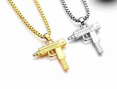 Gunmetal Gold Silver Tone Machine Gun Pistol Uzi Pendant Necklace  Uk Seller