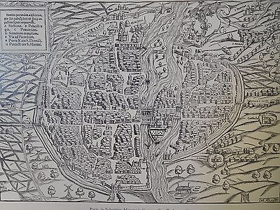 1550 Antique Map Of Paris - Sebastian Munster Cosmographia - France Reproduction