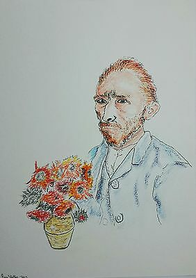 Original Coloured Pencil/Ink Drawing by Ray Statter - Vincent Van Gogh Montage