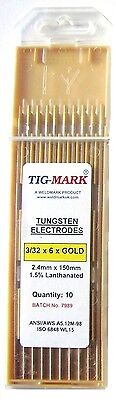 Pk 10 2.4mm x 150mm GOLD TIPPED TUNGSTEN ELECTRODES