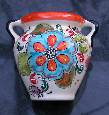 Vintage Kitch Wall Pocket, Urn Shaped ,Tube Lined Vibrant Colours Ex cond