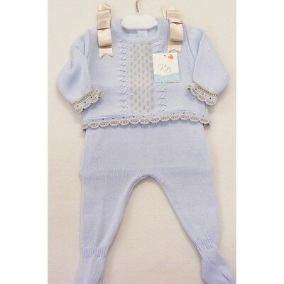 *AW17* Spanish Suit Baby Boy's Blue Knitted Suit with Beige Bow/Top& Leggings