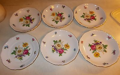 """6pc Mitterteich Meissen Floral China 5ea 8"""" bowls 1ea salad plate Germany"""