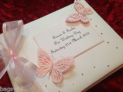 Wedding Birthday Guest Book Large Luxury Boxed Baby Pink Butterfly