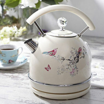 Retro Kitchen Cream Beige Diamond Jewelled Birds Kettle Electric Cordless