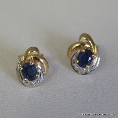 Boucles D'oreilles Or 18k 750 Saphirs/Diamants 1.6gr - Bijoux occasion