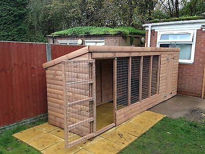 Wooden Dog Kennel and Run 12x4