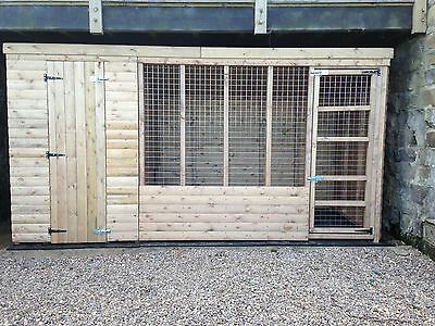 Wooden Dog Kennel and Run 10x4