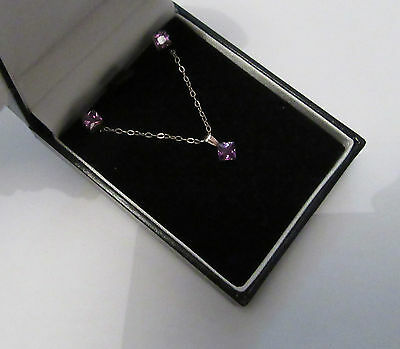 Boxed Cz Heart Earrings And Necklace Sterling Silver Amethyst Shade