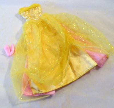 Barbie Doll Princess Gown Yellow & Pink Glittery Overlay + Shoes