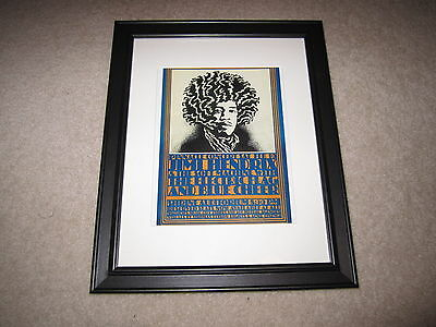 Framed Jimi Hendrix/Blue Cheer/Electric Flag Tour Poster, 1968, Beautiful+ RARE!