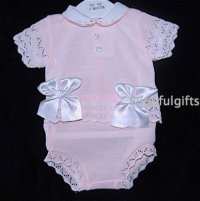 Girls Spanish Style Pink Lacey Knit Large Bow Top & Jam Pants 6-18 Mth