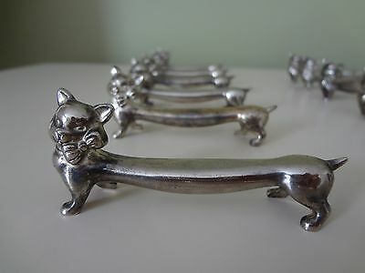 Cat Knife Rests Set of 12 Silver Plate