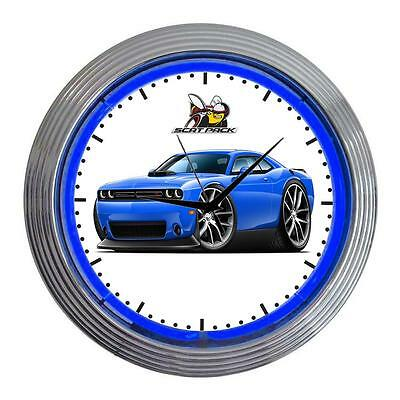Dodge Challenger Scat Pack Muscle Car Classic Neon Clock NEW