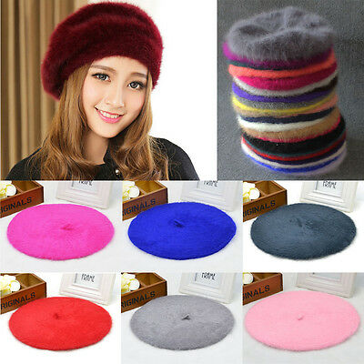 Beret Hat Stylish Beanie Soft Faux Rabbit Fur Warm Elegant Artist Cap Women
