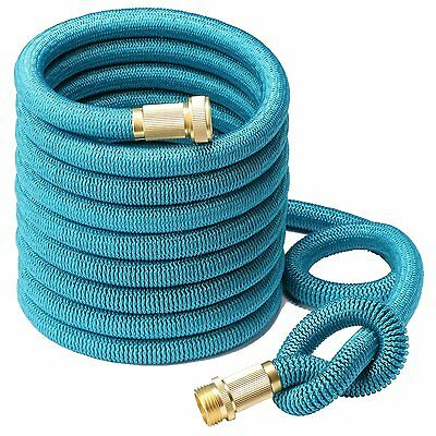 Greenbest 2016 50' Expanding Garden Hose, Solid Brass Connector Fittings, Blue