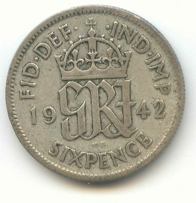 Great Britain 1942 Silver Sixpence UK 6d -- EXACT COIN SHOWN