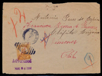 vk44 Mexico Cover w/ Torreon Local Ovpt 5ctv Jimenez CHIH   Clifton AZ 1914