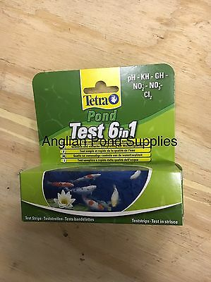 TETRA POND 6 in 1 DIP TEST STRIPS pH KH GH NO2 NO3 CL2 FISH WATER QUALITY