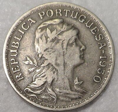 Portugal 1930 50 CENTAVOS  KM#577  Copper Nickel Die Breaks OBV Foreign Coin RJS