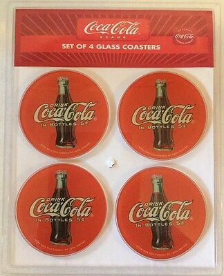 Official Licensed Coca-Cola 4 Round Red Disc Icon Glass Coasters