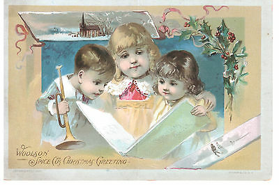 Christmas Greeting Lion Coffee Woolson Spice Co Toledo Victorian Trade Card