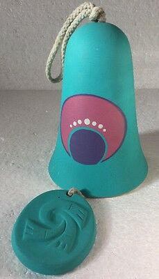 Pottery Ceramic Wind Bell Aqua Blue Purple And Pink