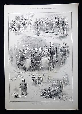 Royal Navy Court Martial On Board Hms Victory Ship Victorian Print 1882