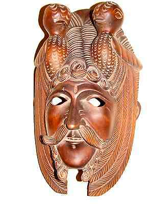 Vintage Mayan God King 'quetzalcoatl' Hand Carved Mask, A+ Condition
