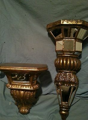 A pair of Vintage Mirrored Regency Style Corbel Wall Shelf Gilt Effect Resin