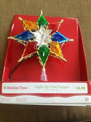"""NEW!CHRISTMAS HOLIDAY TIME  STAR LIGHT-UP TREE TOPPER ,8"""" TALL, Mult Color"""
