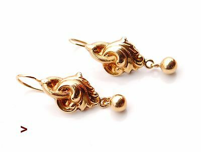 1890 Antique European Acanthus earrings solid 18K Gold /3.2