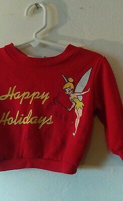 Vtg Tinkerbell Happy Holidays Sweater Size 12 Mos Vintage Baby Girls Pullover