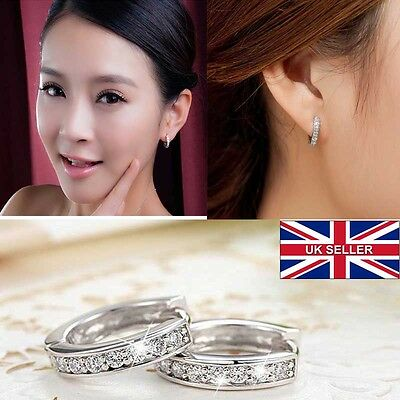 ROUND Charm Plated Crystal Sterling Silver Stud Hoop Earrings Women Jewelry UK