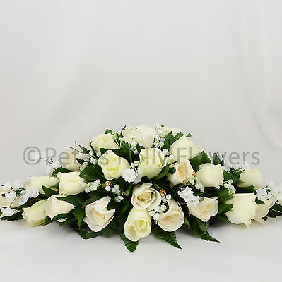 Wedding Flowers by Petals Polly, TOP TABLE DECORATION in GOLD CREAM IVORY ROSES
