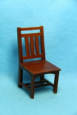Dollhouse Miniature Dining Room Mission Back Arm Chair in Walnut ~ T6241