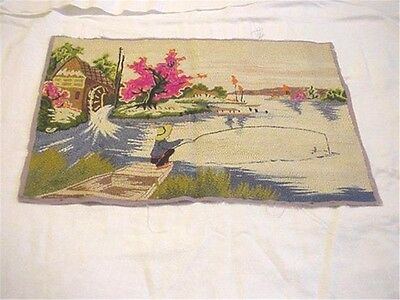 Vintage Russian Bunka Punch Needle Embroidery Mid-Century Nature Fishing Scene